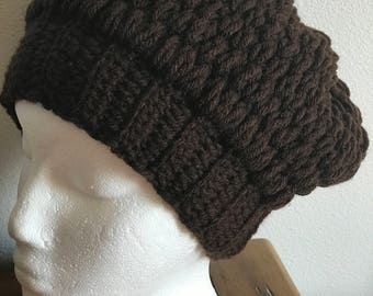 Women Crochet Beanie, Thick Beanie, Brown Beanie, Winter Beanies