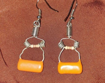 WIRE WRAP EARRINGS made with capacitors and resistors electrical parts