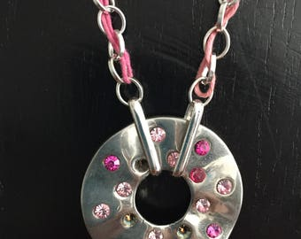 girly pink, silver and rhinestone necklace