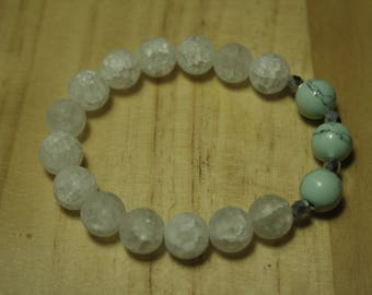 Crystal quartz and turquoise dyed howlite