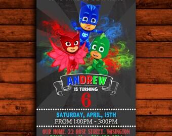 Pj Masks Invitation, Pj Masks Invite, Pj Masks Birthday, Pj Masks Party, Pj Masks Cards, Pj Masks Design, Pj Masks Birthday Party