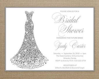 Bridal Shower Invitation Dress, Bridal Shower Invite Dress, Bridal Shower Invites, Bridal Shower Invite