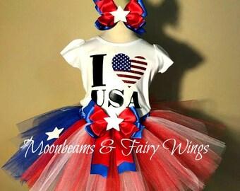 I Love The USA Tutu,4th Of July Tutu,4th Of July Pageant Outfit,Girls 4th Of July Outfit,4th Of July Costume,Independance Day Tutu,Flag Tutu