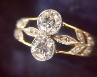 Antique Edwardian diamond ring in 18-carat gold and platinum
