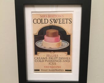 Classic Cookery Book cover print- framed - Mrs Beeton's Cold Sweets