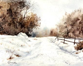 "Giclee , fine art print, winter, snow, landscape, Walter Czuma, titled ""The road home"""