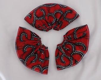 Red elastic skirt patterned blue pullip