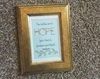 She Holds Onto Hope - Framed, Encouraging handmade paper craft verse