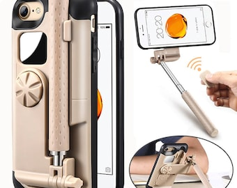 Portable Bluetooth Selfie Stick Case For iPhone 7 Case Foldable Stretch Handheld Bluetooth Shutter Phone Case For iPhone 7 Plus
