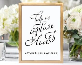 Wedding Hashtag Sign Wedding Hashtag Sign Capture the Love Instagram Wedding Sign Custom Hashtag Signs Hashtag Wedding Sign