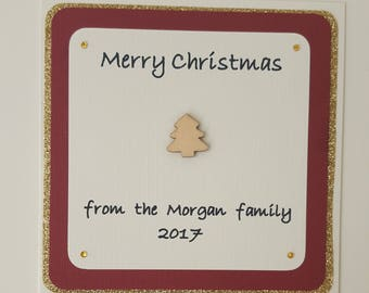 Christmas card/ FREE shipping/Personalised handmade card/merry Christmas/personalised card/Christmas tree card/family Christmas card