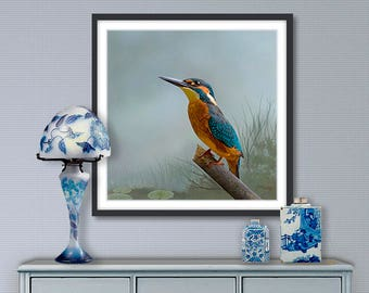 Digital painting, Kingfisher, digital download and print on canvas or paper art