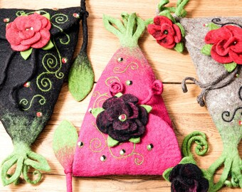 Elf dream bag shoulder bag Pocket wool felt felt flowers leaves ornament black fuchsia Berry pink gray nature
