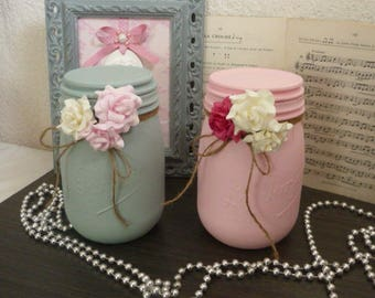 Duo shabby pink and green glass jars / blue