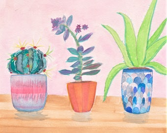 3 Sweet Succulents - Watercolor Painting