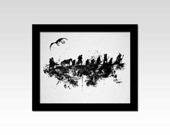 The Hobbit / Lord of the Rings inspired black and white silhouette watercolour effect print