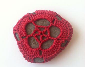 Crocheted River Stone no. 5 / Crochet Covered Stone, Crochet Rock, Mandala Stone, Altar Stone, Meditation Stone, Talisman, OOAK Decor