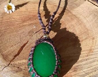 Jade~Heart Chakra~Macrame Necklace~Cabochon