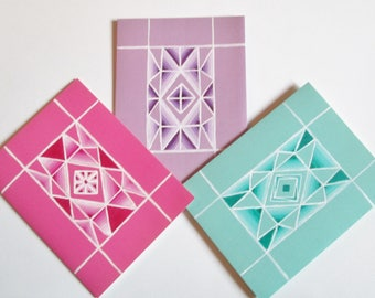Pink, Purple, Green Gemstone Note Cards, Hand painted cards, Blank Greeting Cards