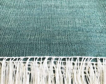 Handwoven Mohair Throw / Blanket - Natural Green