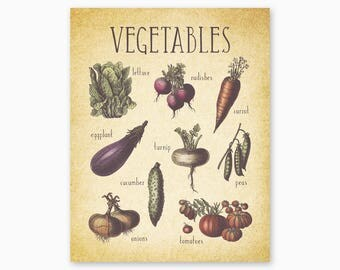 FARMHOUSE KITCHEN Wall Art, Vegetables Kitchen Printable, Farmhouse Kitchen Decor, Vintage Kitchen, Country Kitchen, Instant Download