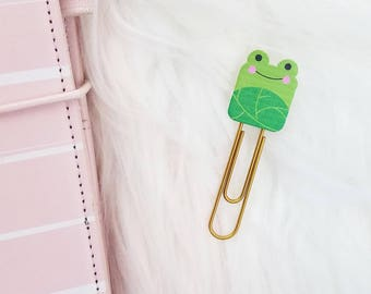 Cute Planner Paper Clips, TN Clips, TN Charms, Cute Green Frog Paperclip, Froggy Clip, Planner Stationary Accessories, Planner Accessory