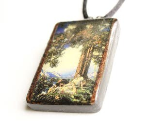 Maxfield Parrish #2 Wooden Pendant