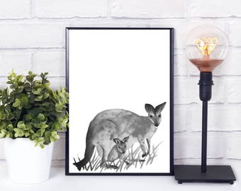 Kangaroo nursery, kangaroo decor, safari animal prints, safari animals, safari animal nursery decor, safari animal print nursery