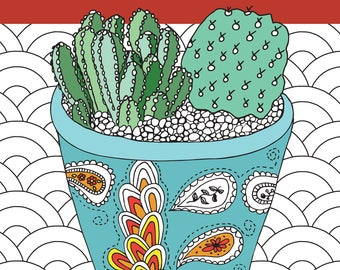 Succulent Serenity, Cactus Calm Coloring Book
