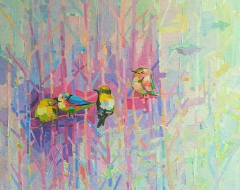 Original Oil Painting Abstract Painting Colorful Birds Forest Pink Contemporary Art Large painting Bird Impressionism modern Art painting