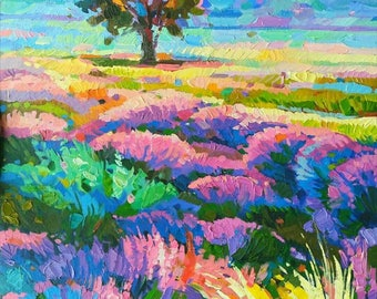 Original Oil Painting Camp of lavender Colorful Landscape Oil of canvas Paesaggio Campo di lavanda Lavender Contemporary Art Painting Sunset