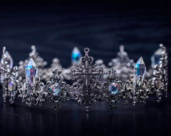 Antique Cross Silver Crown Crystal