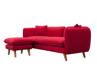 Helinski sofa + Ottoman Live Color Red of Scandinavian style