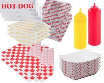 Ketchup Mustard - Food Tray Containers Hamburger & Cheeseburger Bags - Hot Dog Foil Wraps- Sandwich Outdoor Picnic Party BBQ Fun Pack Papers