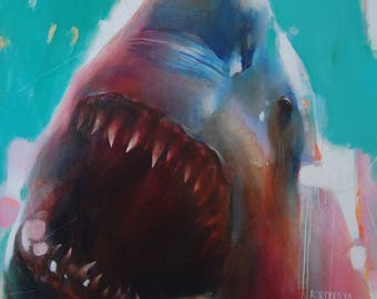 Shark Painting Oil Painting Animal Art Fish Painting Realism Art Wall Decor Shark Artwork Shark Attack Great White Shark Gifts For Friends