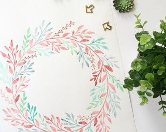 Elaborate Water-Colored Custom Wreath