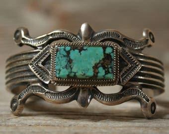 Wilson Begay Navajo Native American Sterling Silver Turquoise Cuff Bracelet
