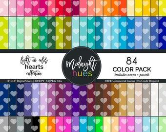 "Colorful Hearts Digital Paper - 12 x 12"" JPEG - 84 Colors Heart Pattern Multi Color Scrapbook Digital Paper - Rainbow, Pastel & Neon Colors"