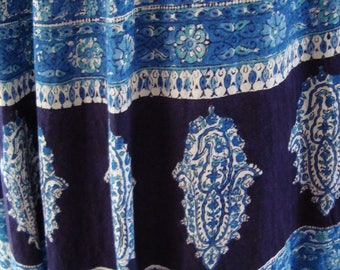 Fabulous 1960's Blue Cotton Tie Waisted Maxi Skirt (Small)