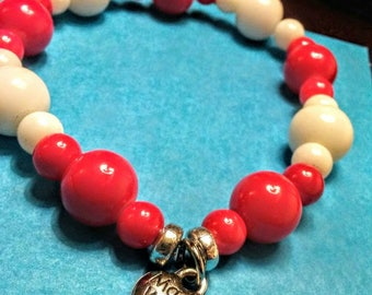 Reds made with love beaded bracelet