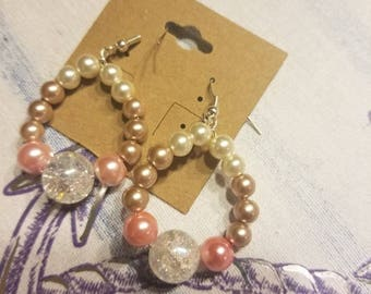 Ombre crystal accent pearl earrings