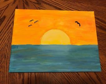 "Sunset Sunrise hand painted 9"" x 12"""