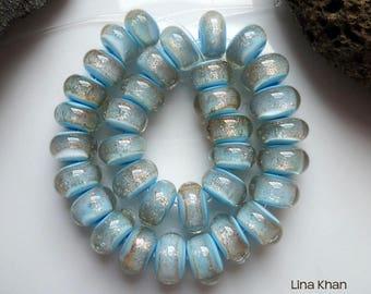 Lina Khan - Lampwork ~ MORNING GLIMMER [34Mini] Handmade Spacer Glass Beads SRA