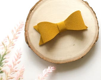 Mustard Suede Bow, Suede Bow, Mustard Bow