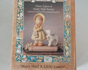 Mary Had A Little Lamb / Memories of Yesterday Once Upon A Time Fairy Tale Series / Enesco Limited Edition Porcelain Figurine / 526479