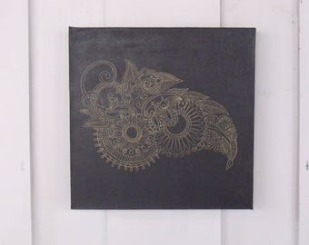 Henna pattern painting, henna painting, art, pattern, black gold home decor