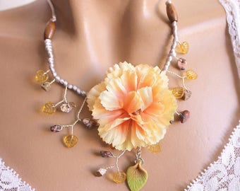 Orange necklace spring summer floral eyelet