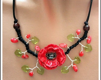 Black and red poppy ceramic Flower necklace