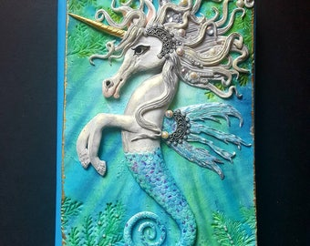 Sea horse, hippocampus,unicorn journal cover, note book, mythical creatures, polymerclay book cover, fantasy,hippocampus journal