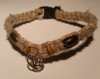 Lotus Charm/Hemp Kitty Collar